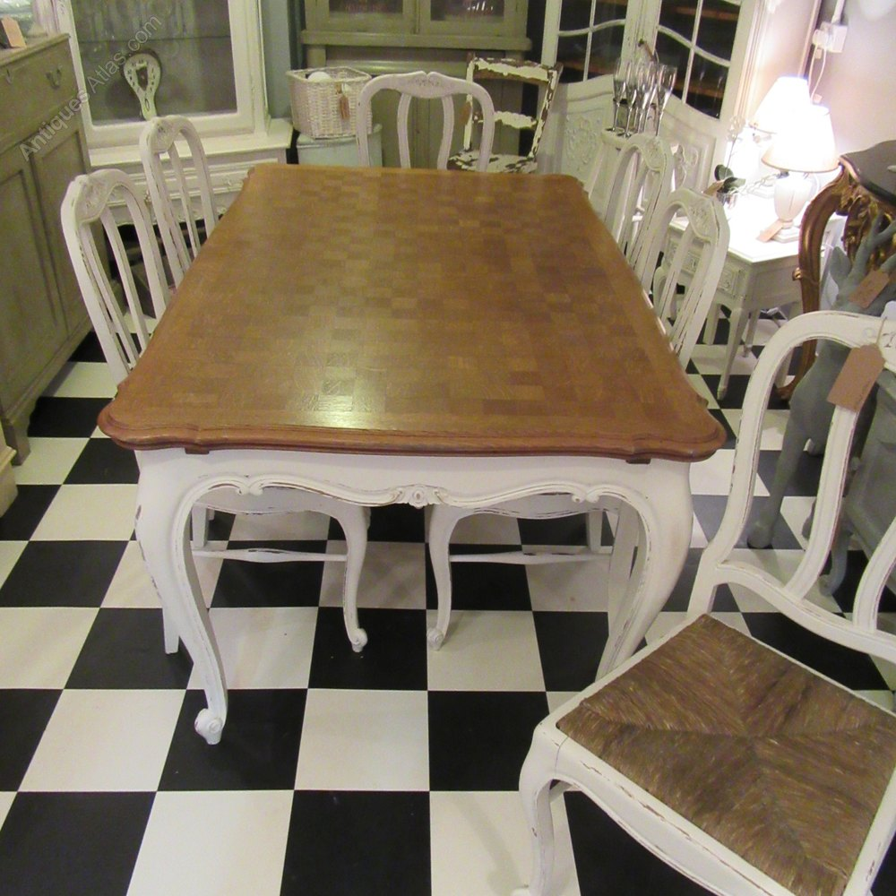 Awesome Vintage French Painted Dining Table u Six Chairs Draw Leaf Tables