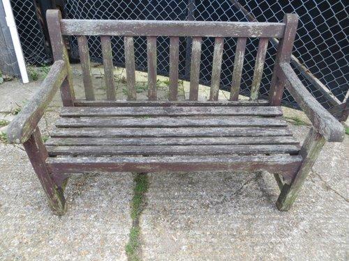 Antiques Atlas Vintage Weathered Teak Lister Garden Bench Seat