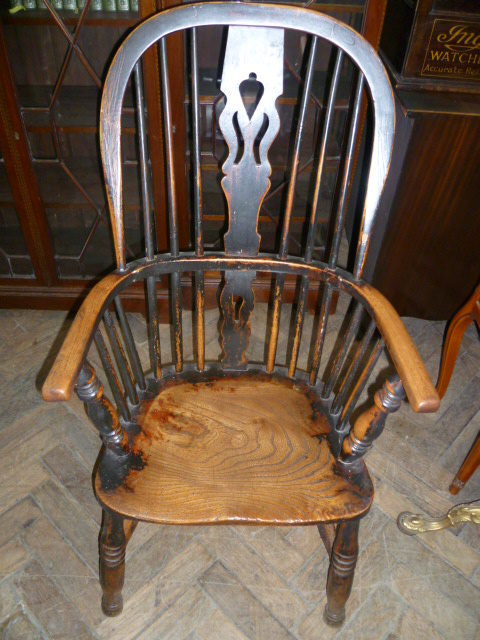 Antique Elm Spindleback Country Windsor Chair