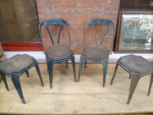 Pair Of Antique Metal Cafe Chairs u0026 Stools ... : metal cafe stools - islam-shia.org