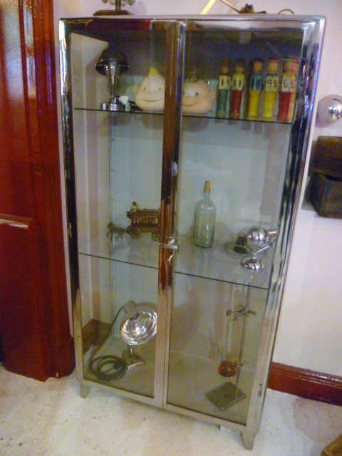 Elegant Vinage 1940s Polished Steel Medical Cabinet ...