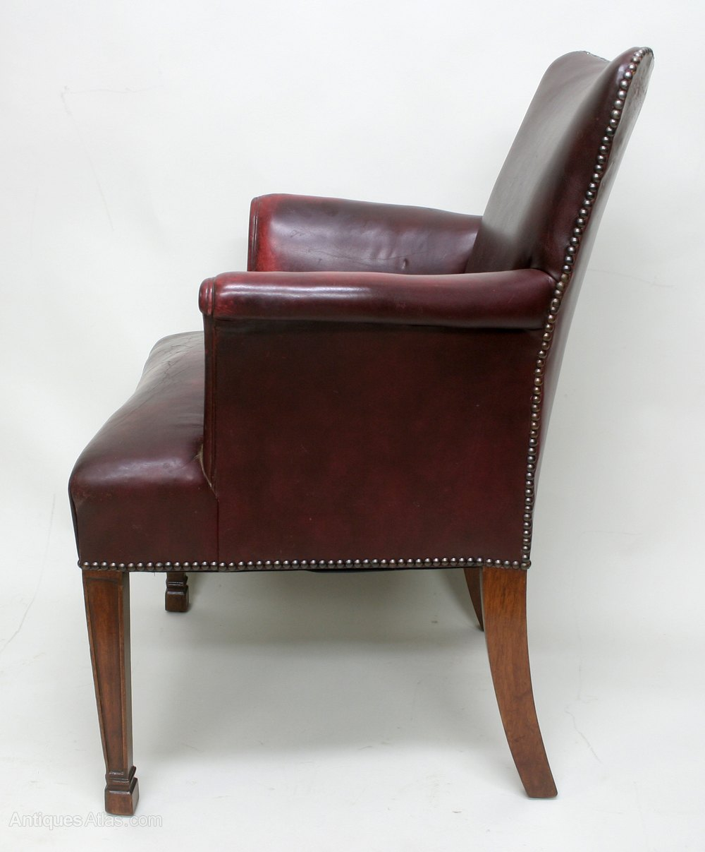 Edwardian leather arm chair antiques atlas for Antique leather chairs