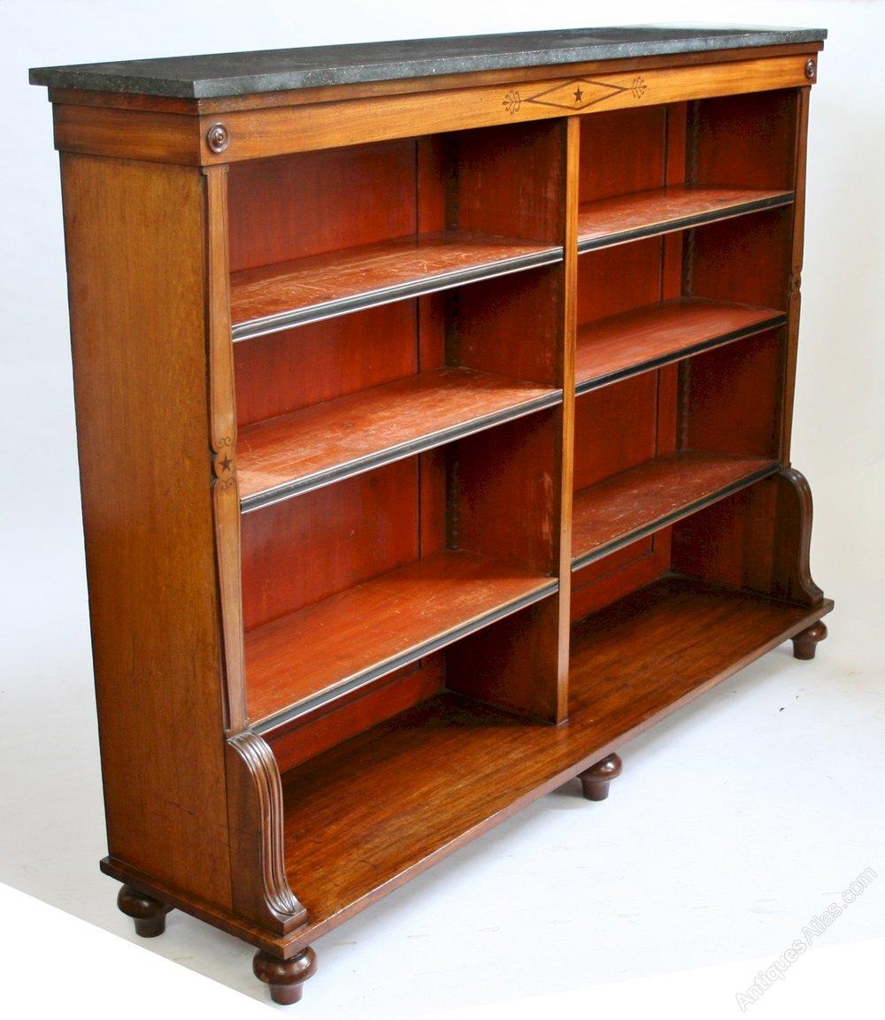 George 1v Mahogany Ebony Inlaid Marble Top Open Bookcase