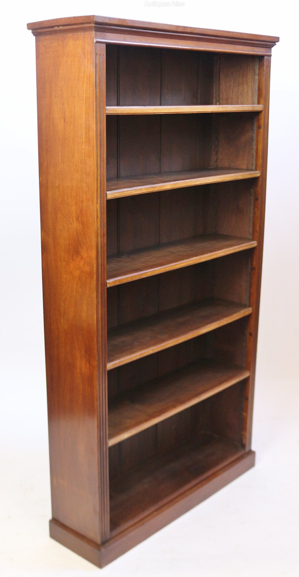Late Victorian Solid Walnut Tall Open Bookcase