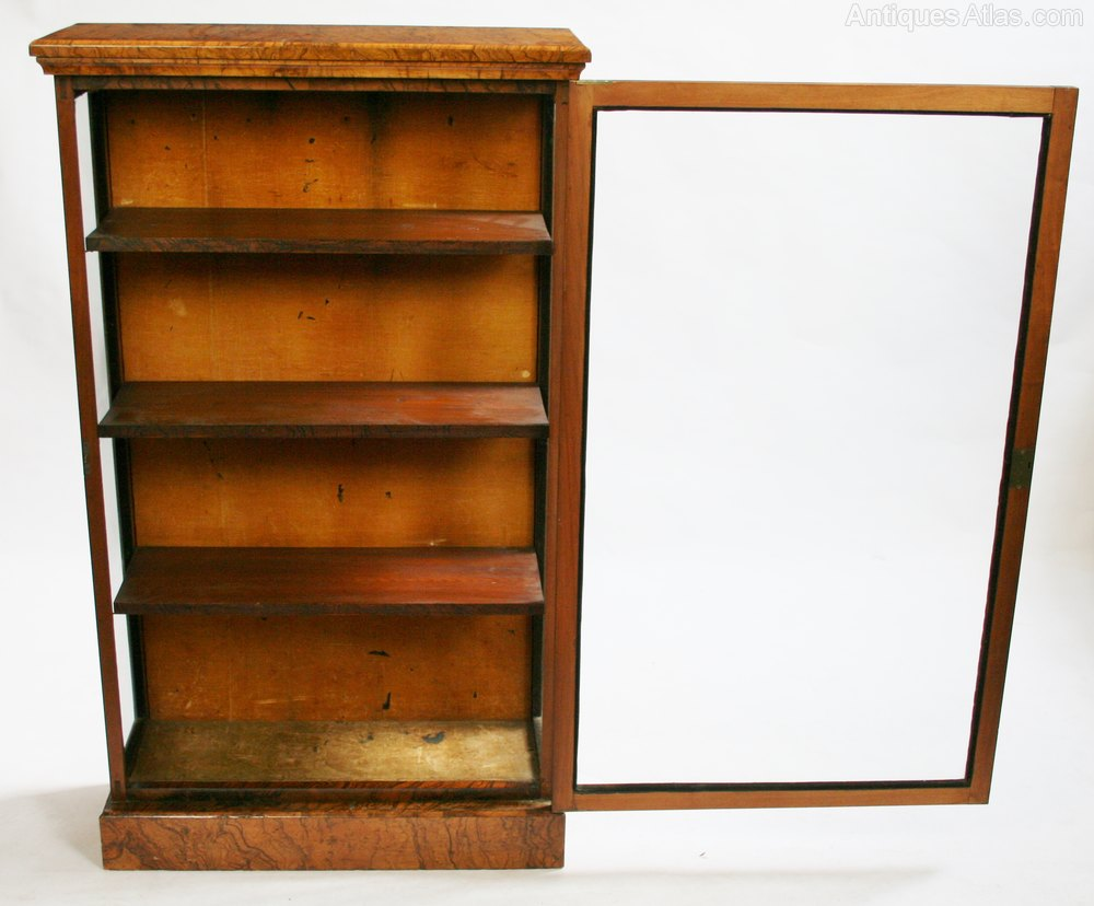 Victorian figured walnut single door display cabinet for Antique display cabinet
