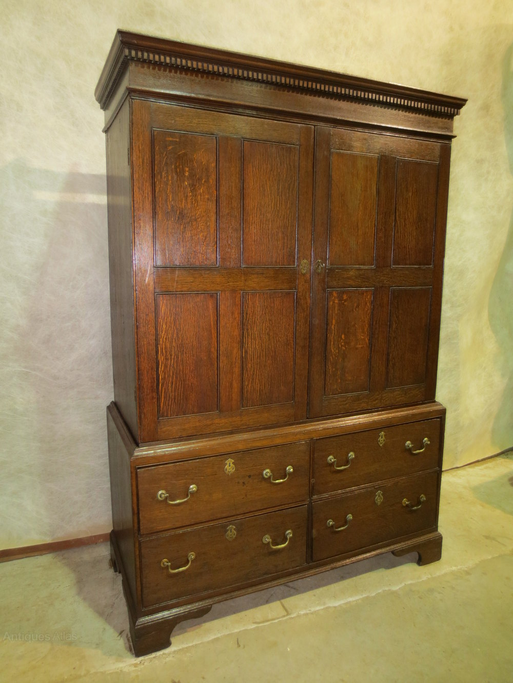 19th century oak linen press antiques atlas for Linen press