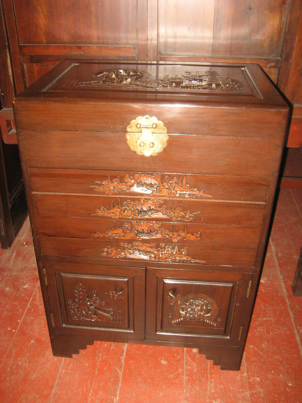 Antiques atlas carved cutlery cabinet for Carved kitchen cabinets