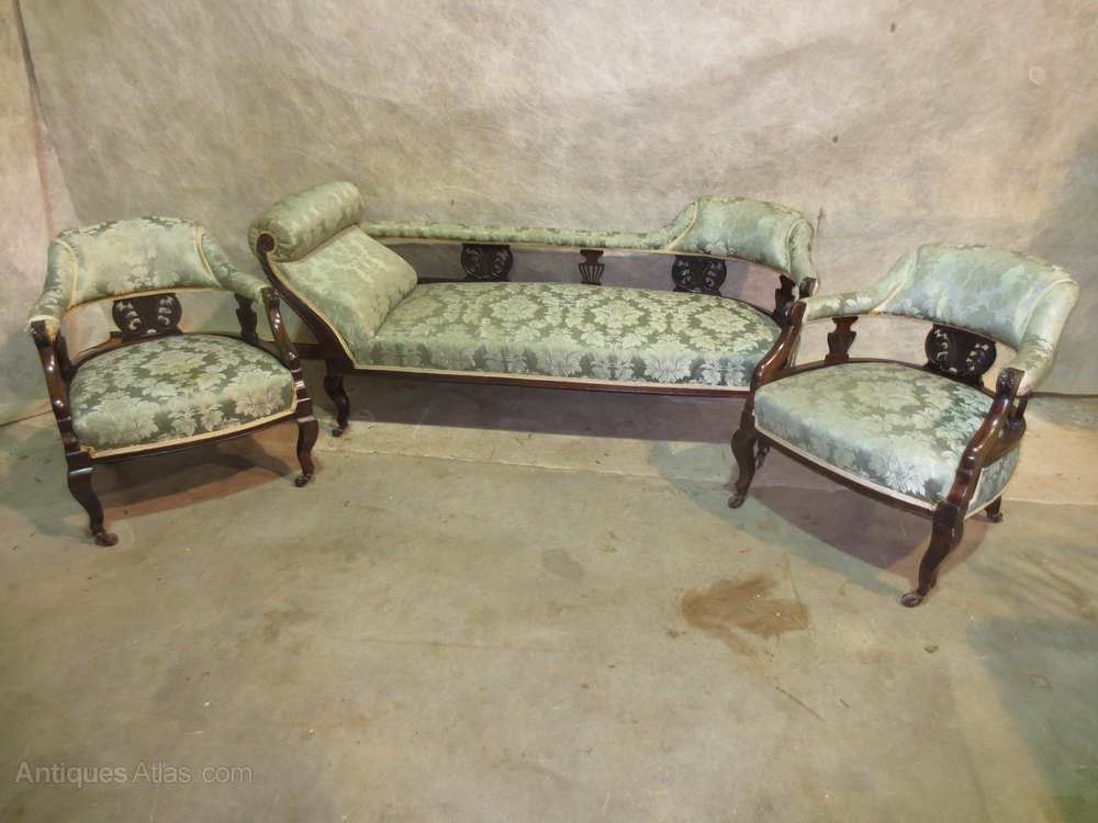 Chaise longue and two chairs antiques atlas for Antique chaise longue for sale uk