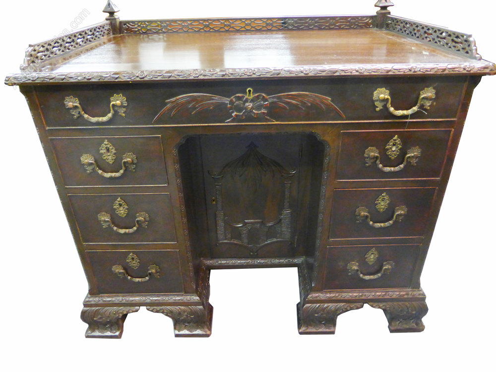 Carved chinese chippendale style desk antiques atlas for Oriental style desk