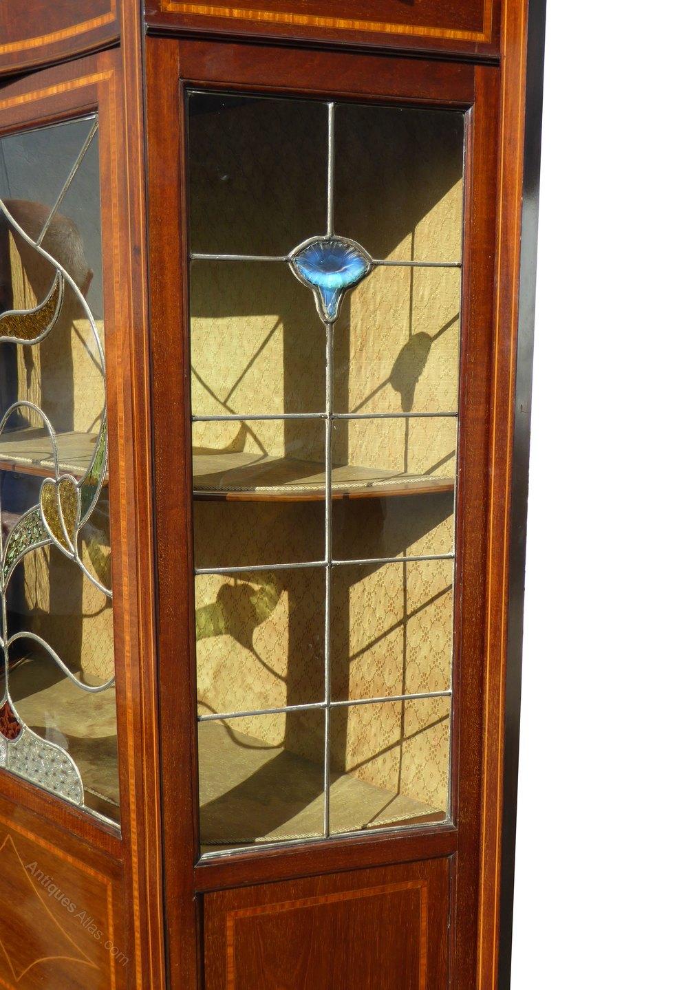 Edwardian Art Nouveau Leaded Glass Display Cabinet