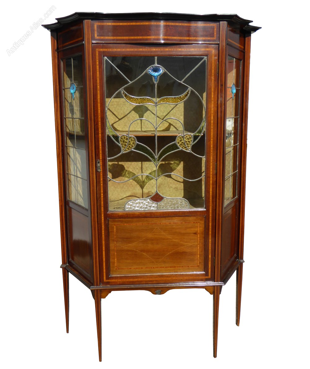 Edwardian art nouveau leaded glass display cabinet for Antique display cabinet