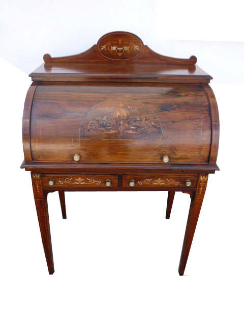Edwardian Rosewood Inlaid Cylinder Top Desk Antique ... - Edwardian Rosewood Inlaid Cylinder Top Desk - Antiques Atlas