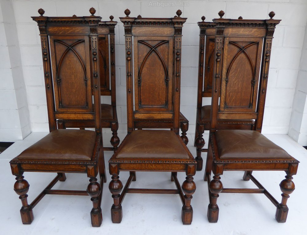 Set of 6 solid oak baroque style dining chairs antiques for Baroque dining furniture