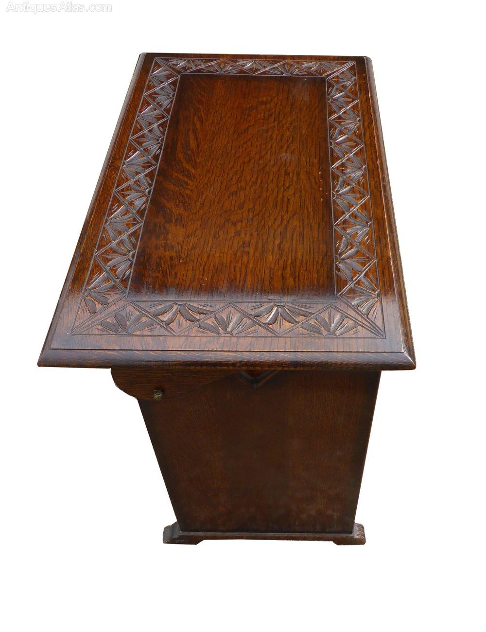 Small antique carved oak monks bench antiques atlas