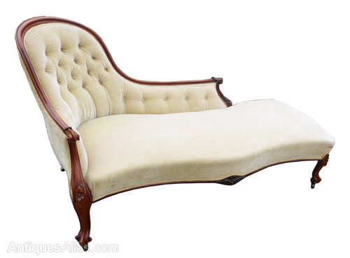 Victorian chaise longue with similar chair antiques atlas for Antique chaise longue for sale uk