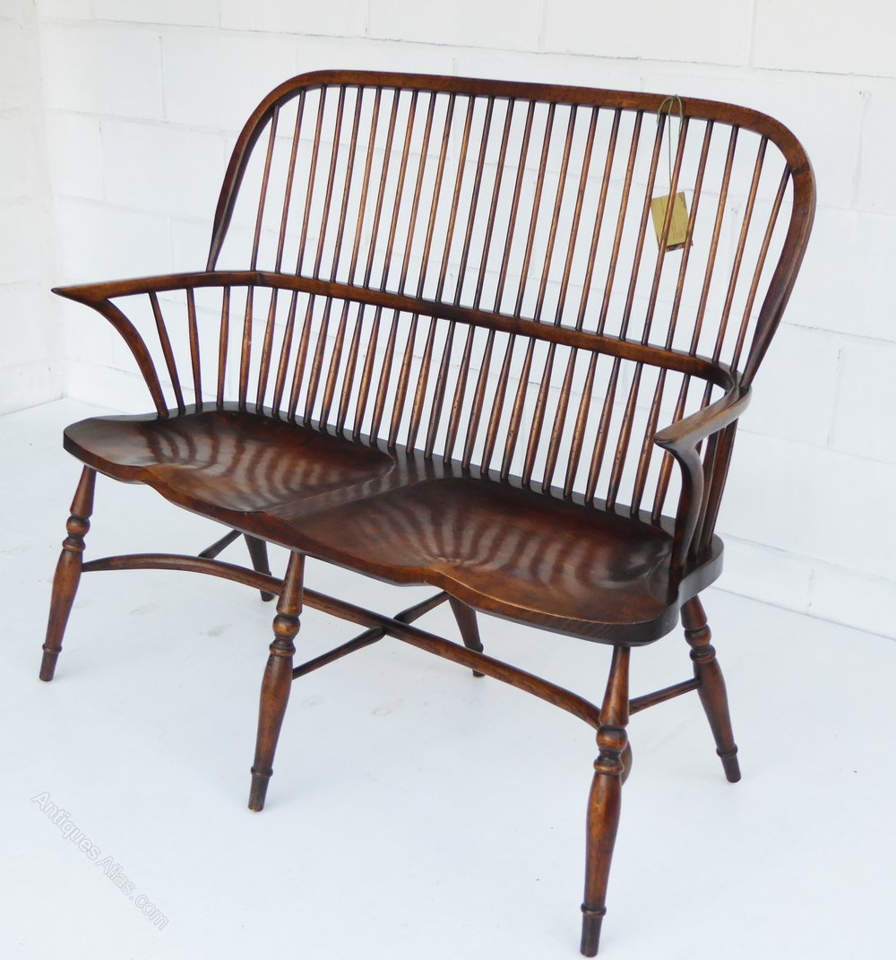 Antiques Atlas Windsor Style Stick Back 2 Seater Settee Bench