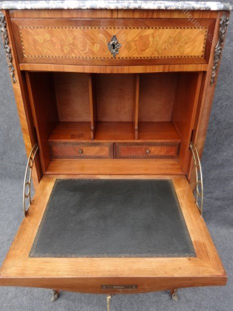 French marquetry secretaire abattant bureau desk for Bureau secretaire