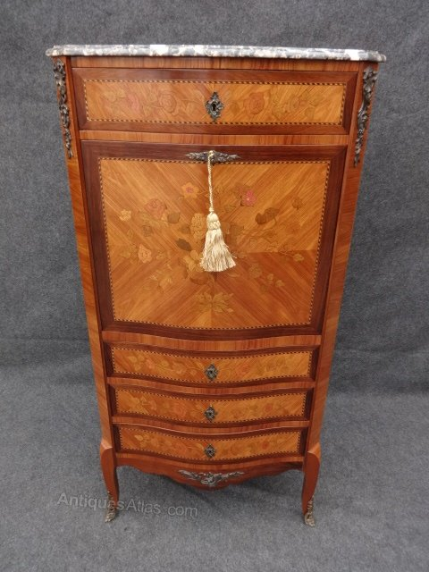 french marquetry secretaire abattant bureau desk antiques atlas. Black Bedroom Furniture Sets. Home Design Ideas