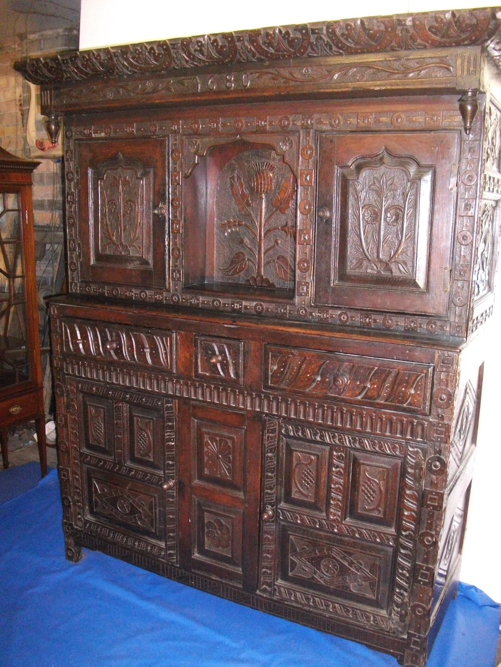 Heavily carved cabinet antiques atlas for Carved kitchen cabinets