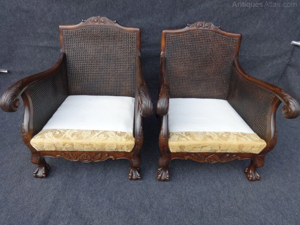 Pair Double Caned Bergere Chairs Antique Armchairs, Occasional Chairs &  Stools ... - Pair Double Caned Bergere Chairs - Antiques Atlas