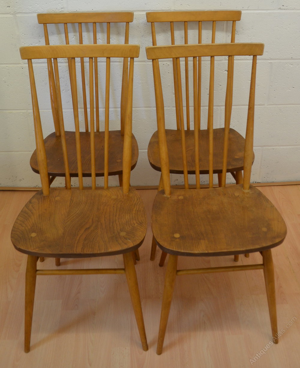 Antiques atlas ercol stick back kitchen chairs set of four for Kitchen chairs