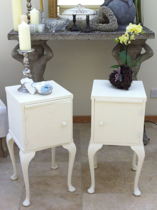 Antiques Atlas Painted Bedside Cabinets Withpretty Pull