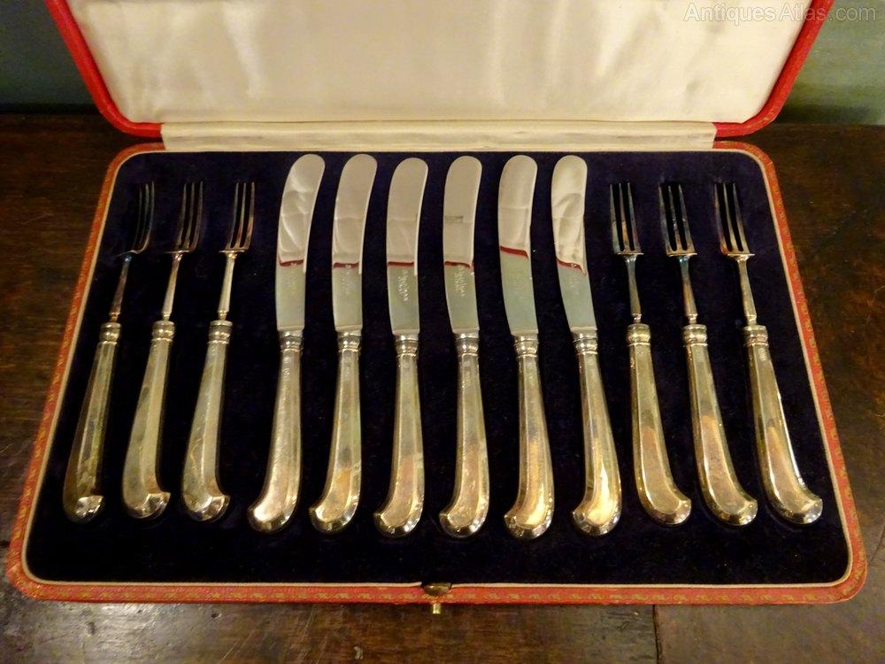 Art Deco Cake Forks : Antiques Atlas - Sterling Silver Cake Set Knives Forks Art ...