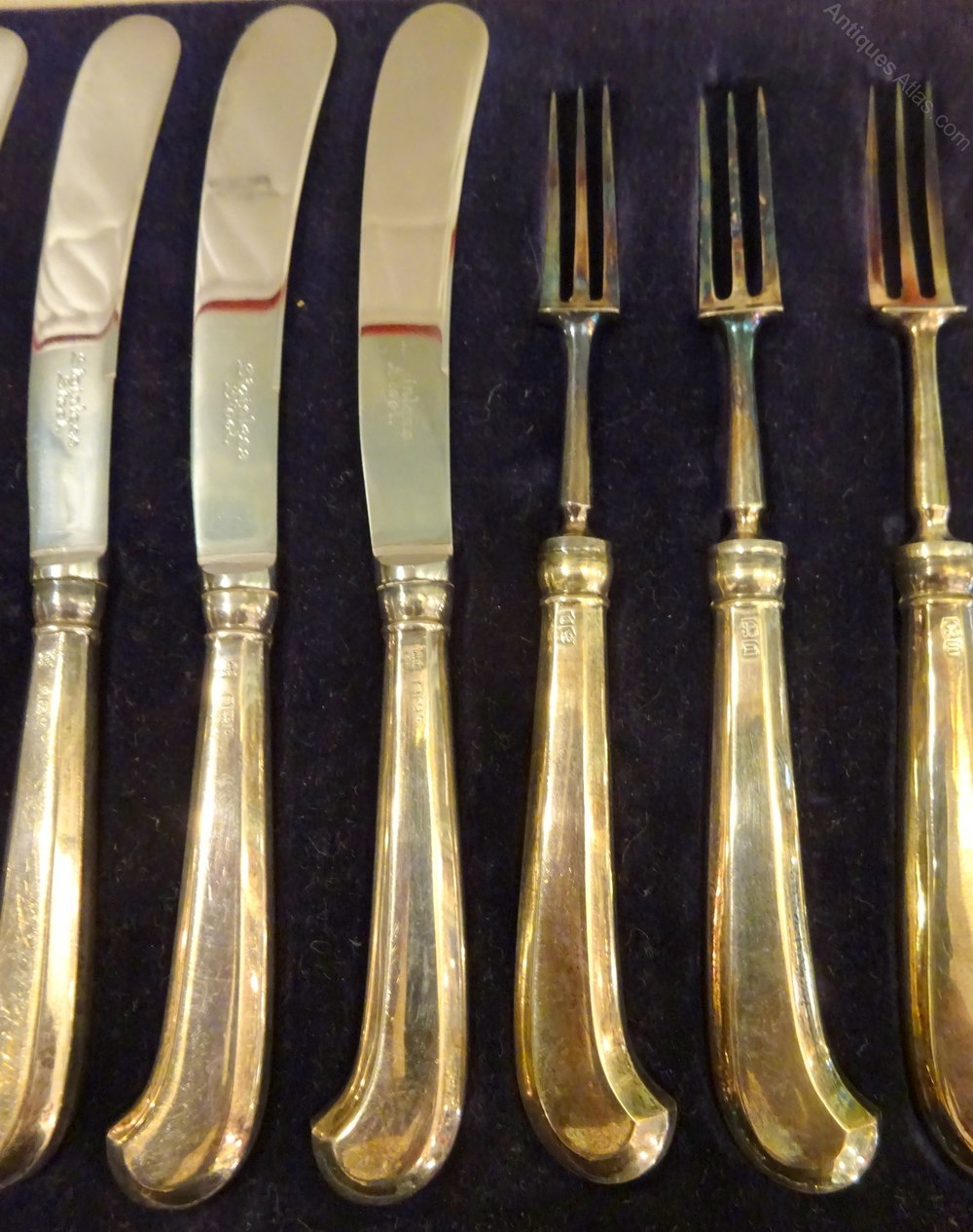 Antiques Atlas - Sterling Silver Cake Set Knives Forks Art ...