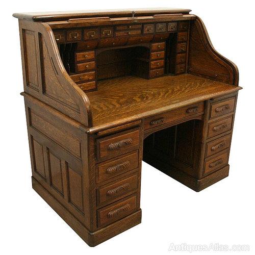 american oak roll top desk bureau antiques atlas. Black Bedroom Furniture Sets. Home Design Ideas