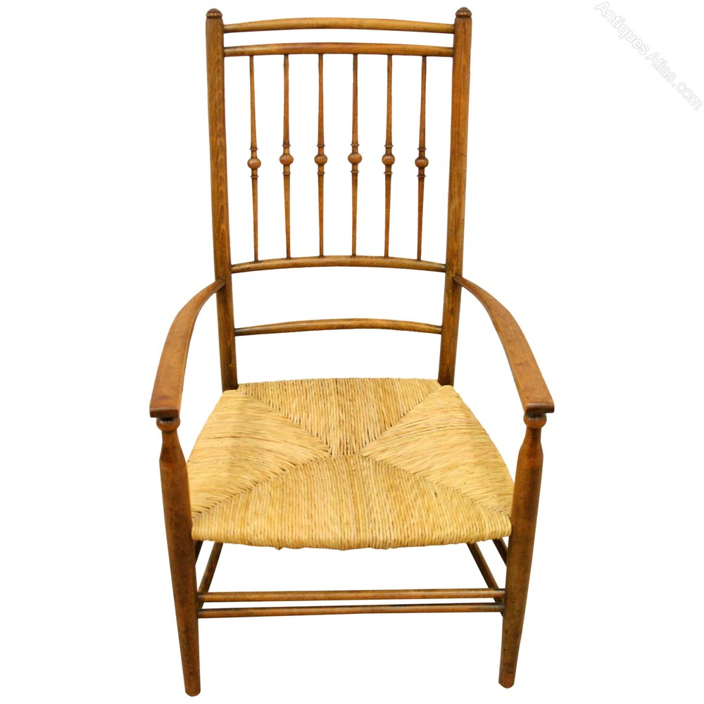 Arts and crafts chairs - Arts Crafts Stained Beech Chair Antique Rush Seat Chairs