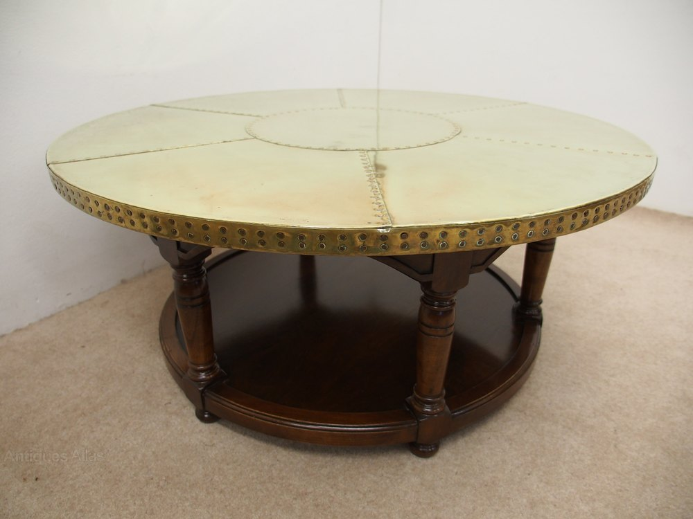 Circular brass coffee table antiques atlas Antique brass coffee table