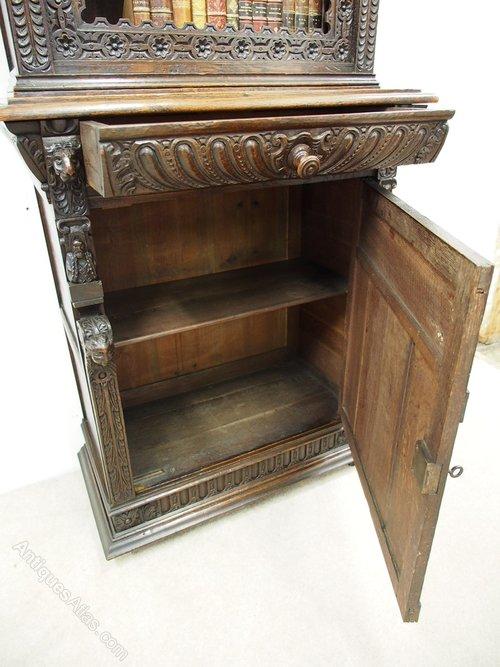 Flemish Carved Oak Cabinet Bookcase Antiques Atlas