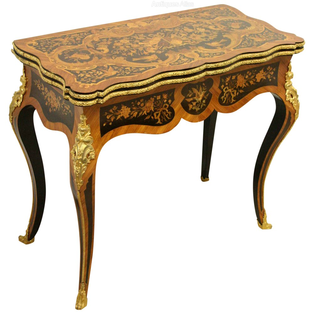 French louis xv style marquetry card table antiques atlas - Table louis xv ...