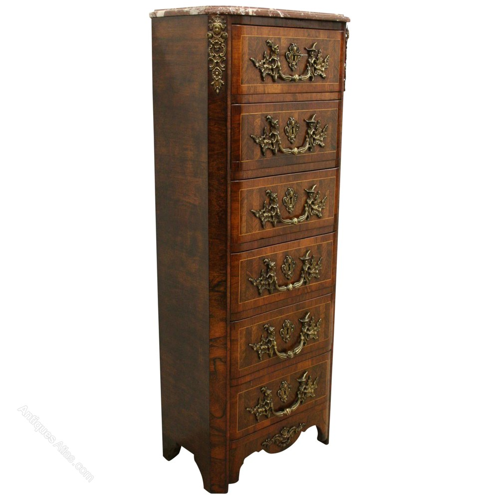 French rosewood and walnut chest of drawers antiques atlas for Furniture 30cm deep