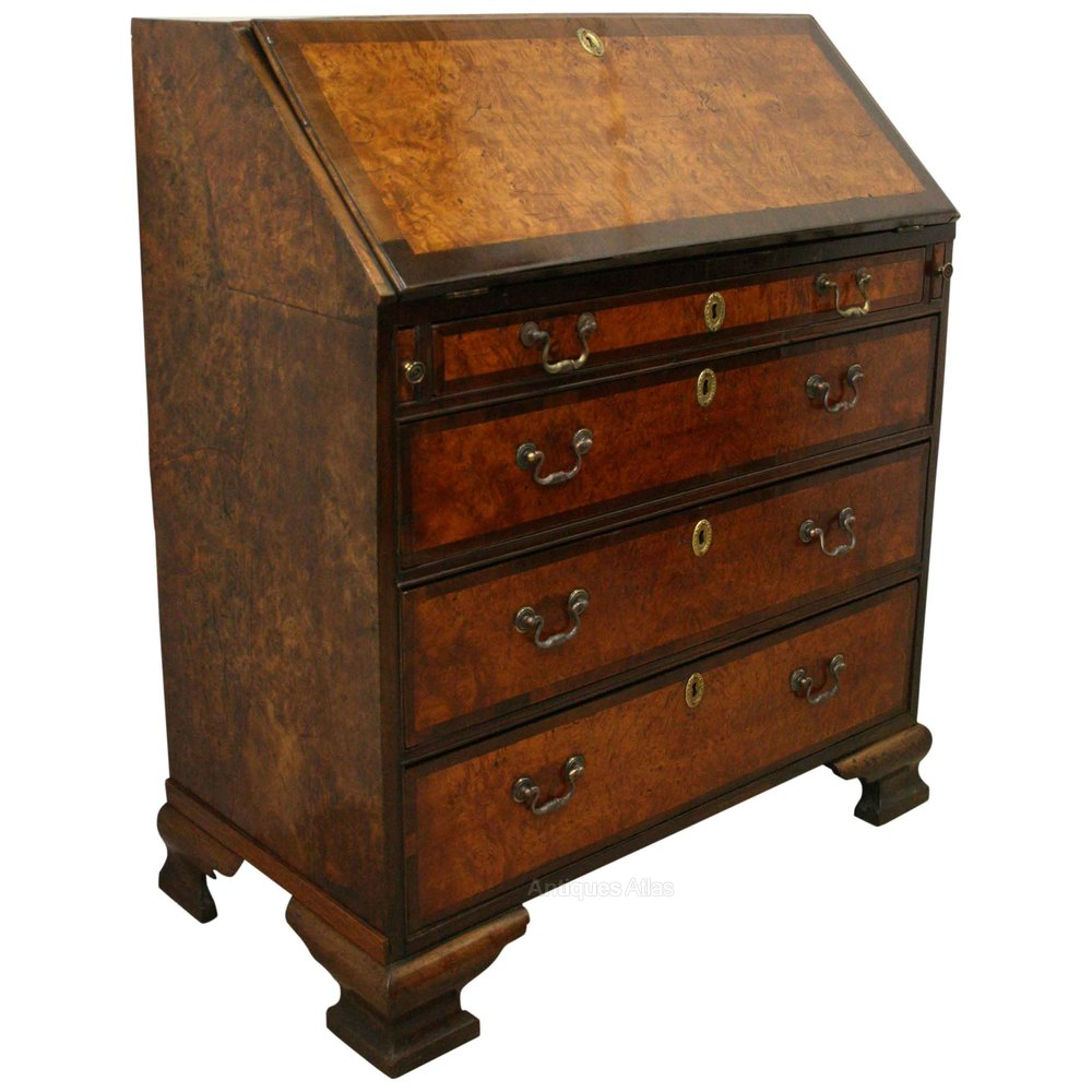 george iii mahogany and burr elm bureau antiques atlas. Black Bedroom Furniture Sets. Home Design Ideas