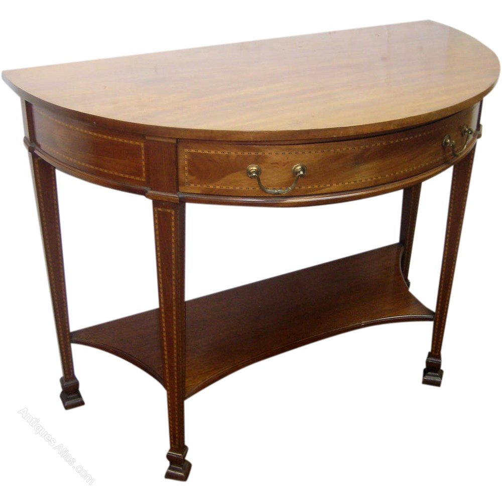 Inlaid mahogany demi lune side table antiques atlas - Table cuisine demi lune ...