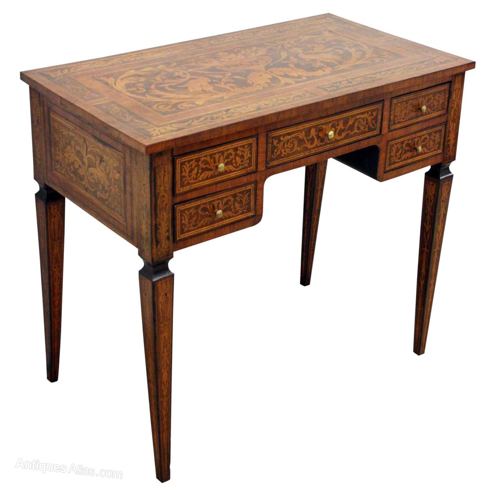 Italian marquetry desk side table antiques atlas