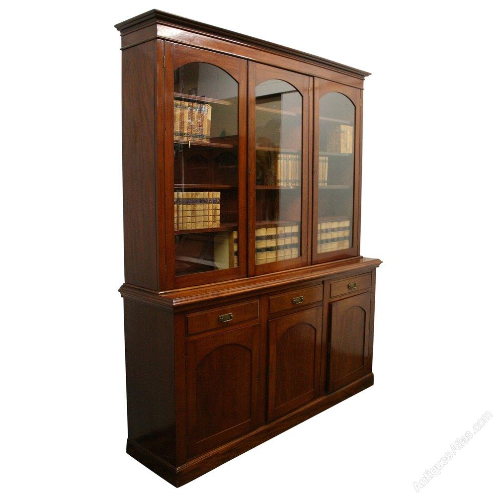 Late Victorian 3 Door Cabinet Bookcase Antiques Atlas