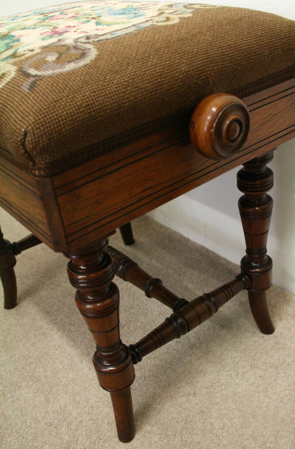 Late Victorian Adjustable Rosewood Piano Stool Antiques