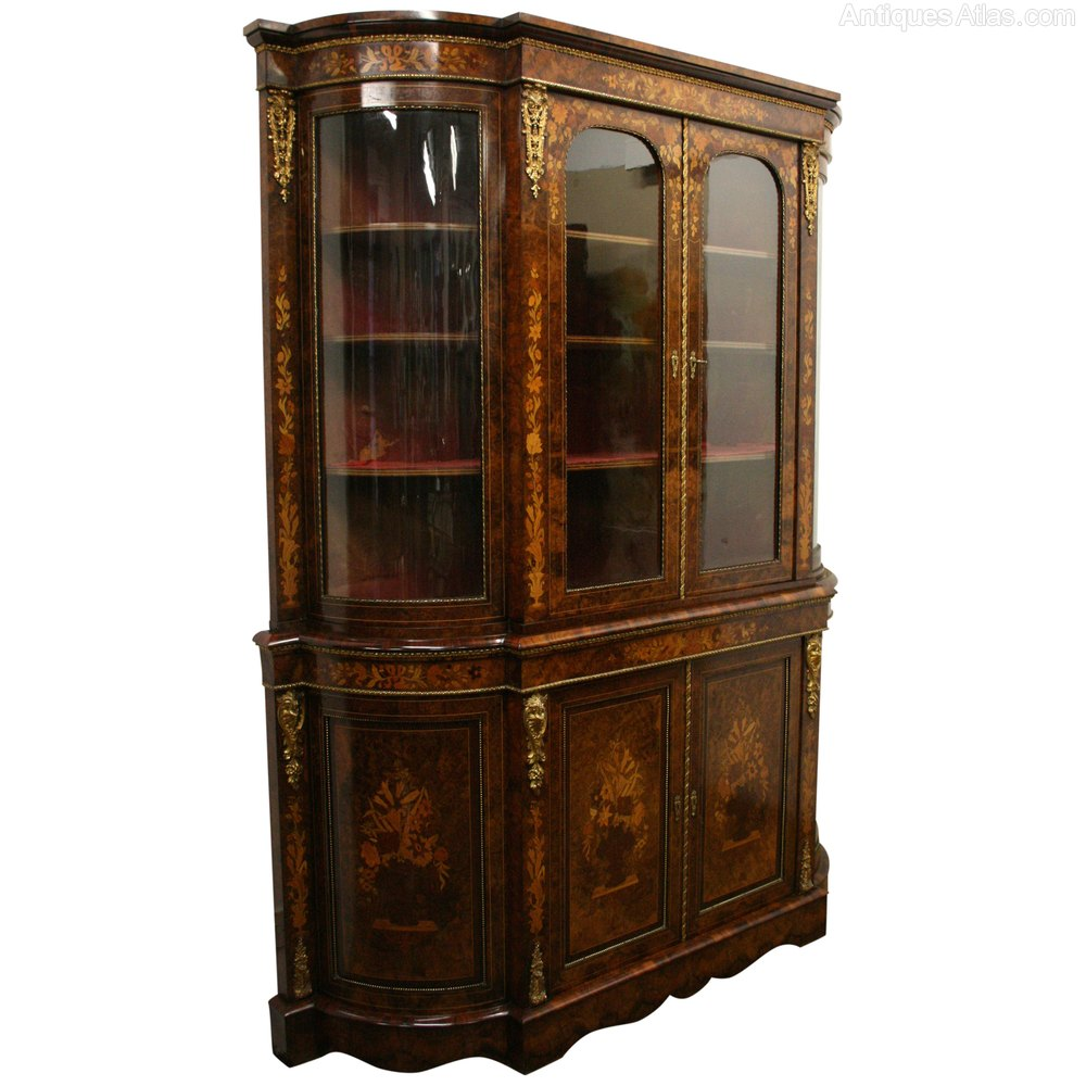 Mid victorian marquetry display cabinet antiques atlas for Antique display cabinet
