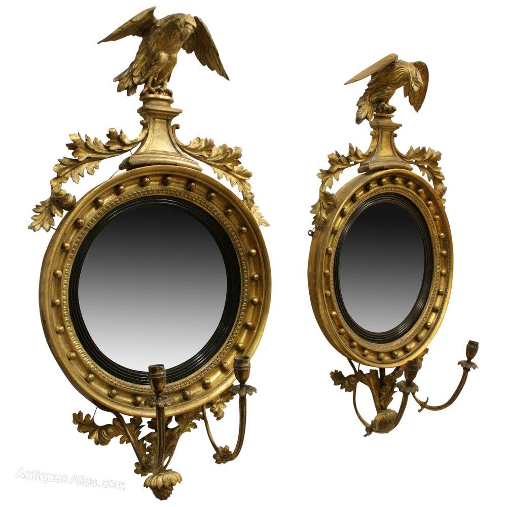 Antiques Atlas Pair Of Regency Giltwood Convex Mirrors