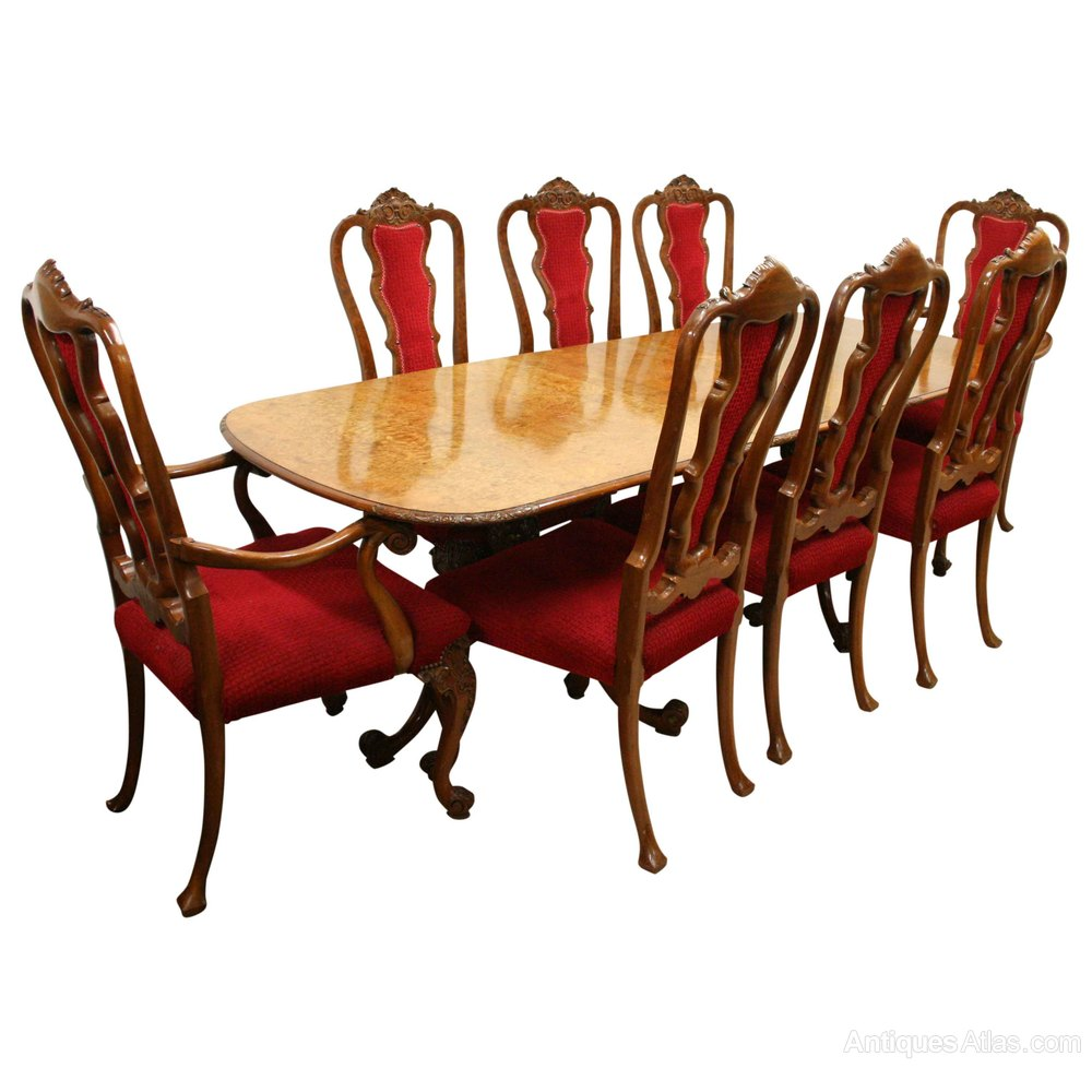 Queen Anne Style Burr Walnut Dining Room Suite Antiques Atlas