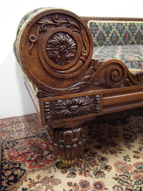 scottish carved oak chaise longue   antiques atlas
