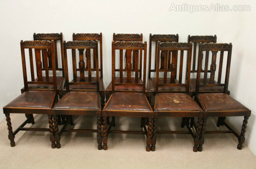 Set Of 10 Jacobean Style Oak Dining Chairs