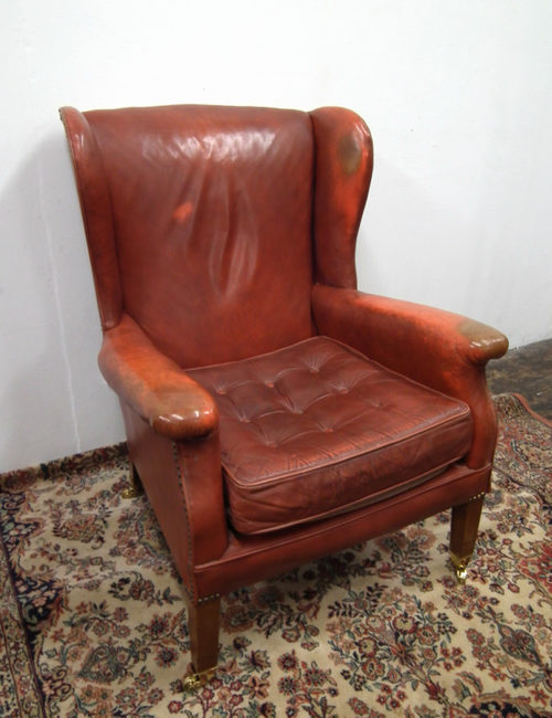 Antiques Atlas - Shabby Chic Leather Wing Armchair