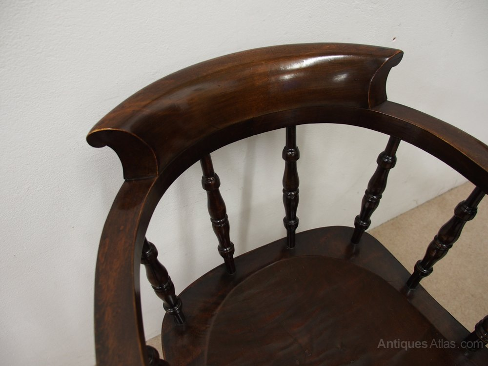 Solid Stained Beech Swivel Captains Chair Antiques Atlas
