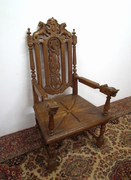 Foyer Chair Quotes : Victorian carved oak hall chair antiques atlas