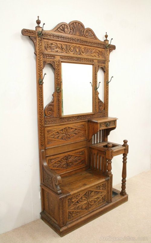 Victorian Carved Oak Hall Stand Hall Bench Antiques Atlas