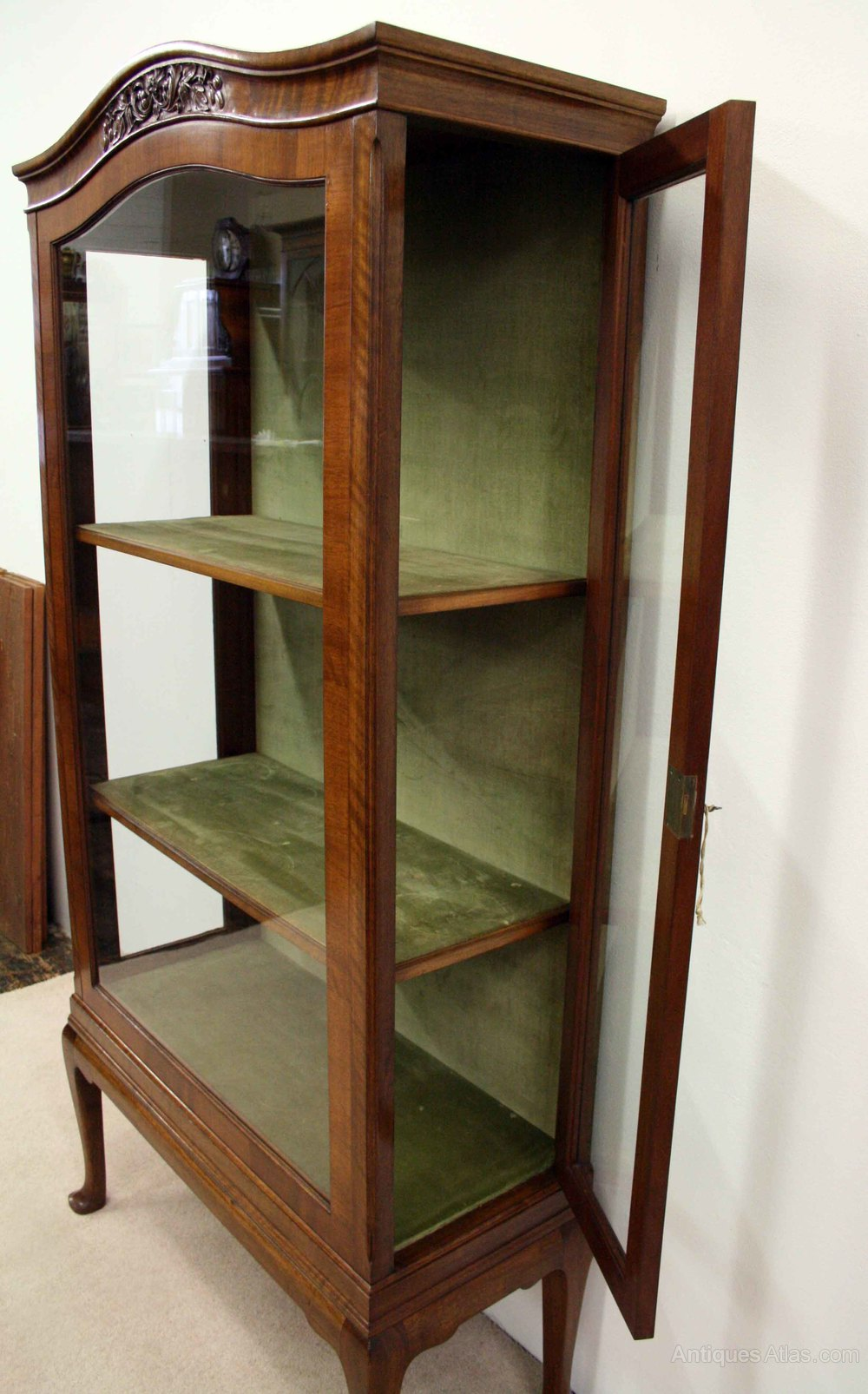 Whytock reid walnut display cabinet antiques atlas for Antique display cabinet
