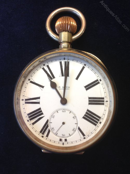 antiques atlas large pocket with 8 day lever movement
